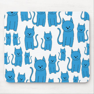 Blue Cats Sitting Mouse Pad