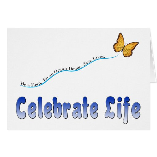 Blue Celebrate Life Butterfly Greeting Cards