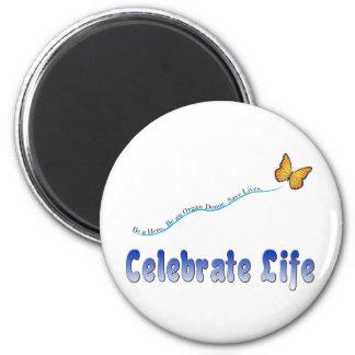 Blue Celebrate Life Butterfly Refrigerator Magnet