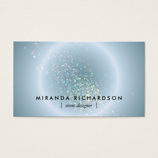 Blue Celestial Confetti Circle Event Planner Business Card