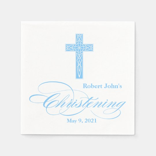 Blue Celtic Cross Christening Personalised Napkin Disposable