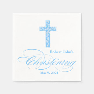 Blue Celtic Cross Christening Personalized Napkin Disposable Napkins