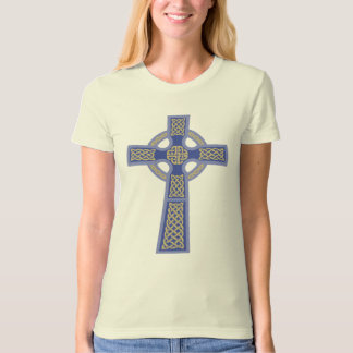 Blue Celtic Cross Ladie's Fitted Organic T-Shirt