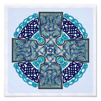 Blue Celtic Cross Medallion Photo Print