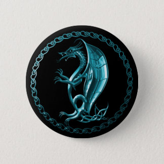 Blue Celtic Dragon Button