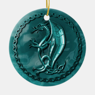Blue Celtic Dragon Christmas Ornament