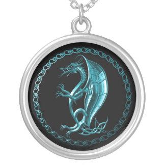 Blue Celtic Dragon Necklace