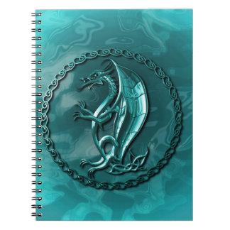 Blue Celtic Dragon Spiral Notebook