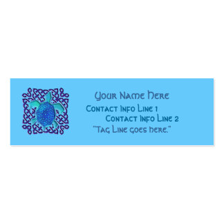 Blue Celtic Knot Turtle Profile Card Pack Of Skinny Business Cards