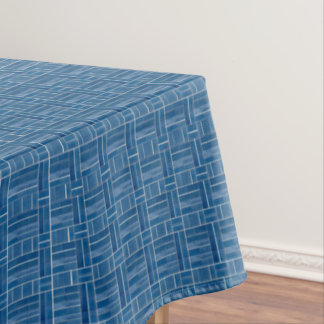 Blue ceramic tiles look pattern tablecloth