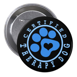 Blue Certified Therapy Dog 7.5 Cm Round Badge