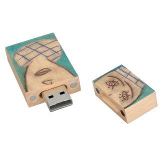 Blue Chalk Drawing Single Man, usb flash drive Wood USB 2.0 Flash Drive