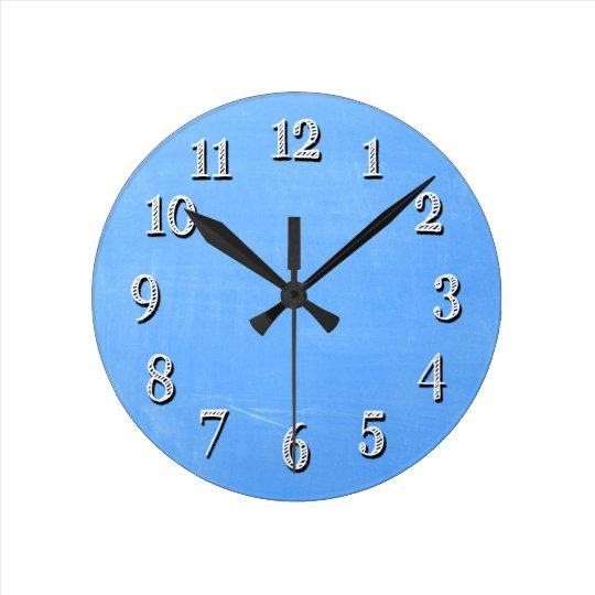 Blue Chalkboard Style Wall Clock