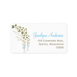 Blue Champagne Cheers Bridal Shower Address Labels