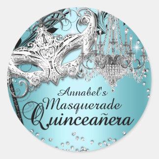 Blue Chandelier Masquerade Quinceanera Sticker