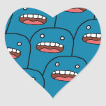 Blue Characters Heart Stickers