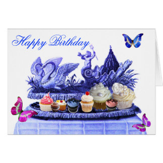 BLUE CHARIOT OF SWANS AND CUPCAKES HAPPY BIRTHDAY GREETING CARD