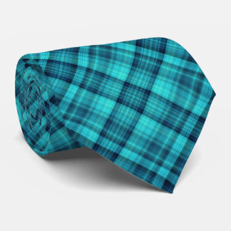 Blue check double sided pattern tie