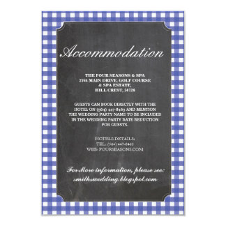 Blue Check Rustic Accommodation Wedding Cards
