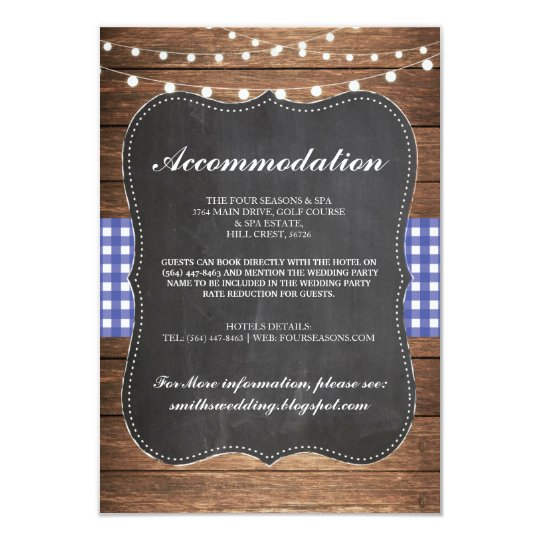 Blue Check Rustic Accommodation Wood Wedding Cards