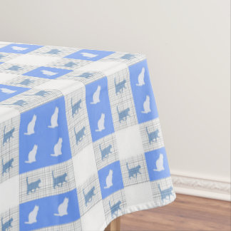 Blue Checkerboard Cat Pattern Tablecloth