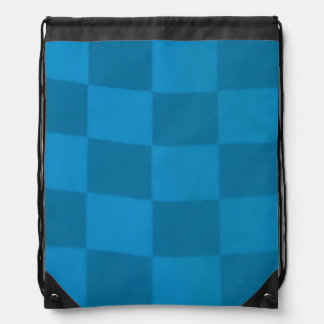 Blue Checkered Flag Drawstring Backpack
