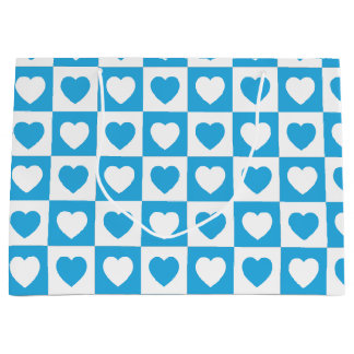 Blue Checkered Hearts Pattern Large Gift Bag
