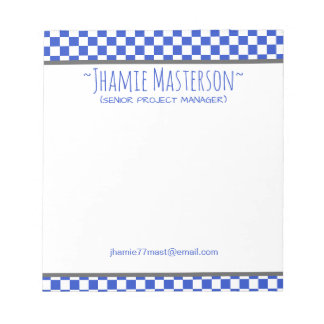 Blue Checkered Notepad