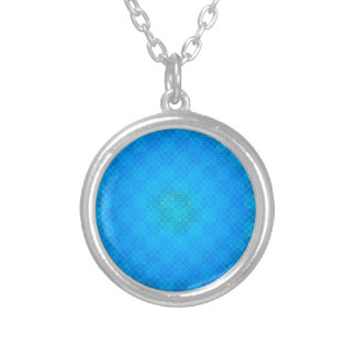 blue checkered round pendant necklace