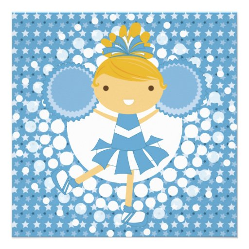 Blue Cheerleader Birthday Party Invitation