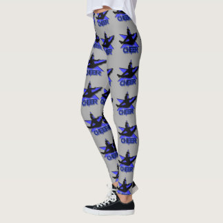 Blue cheerleader design leggings