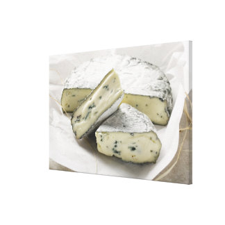 Blue cheese with pieces cut on paper canvas print