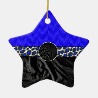Blue Cheetah Fabric Monogram Ceramic Star Decoration
