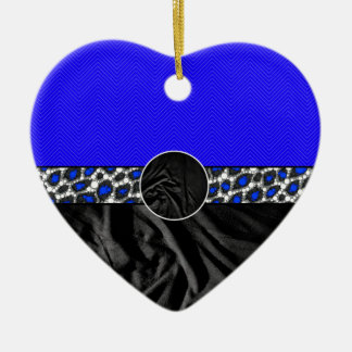 Blue Cheetah Fabric Monogram Ceramic Heart Decoration