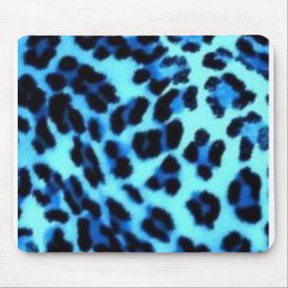 blue cheetah print mouse mat