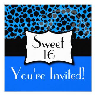 Blue Cheetah Sweet 16 Birthday Custom Invitation
