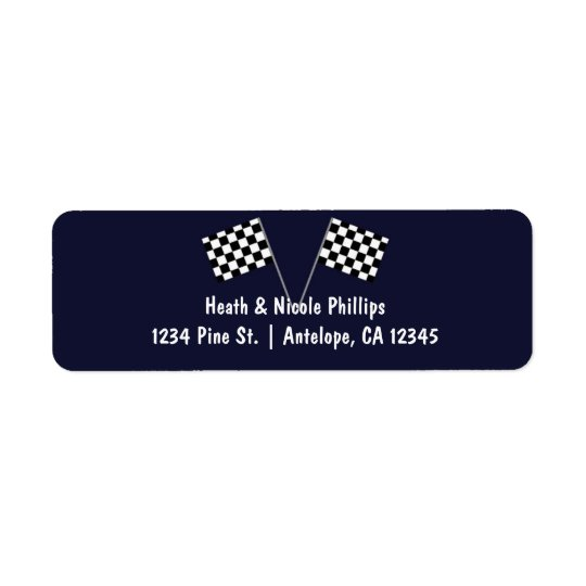 Blue & Chequered Racing Flag Party Address labels