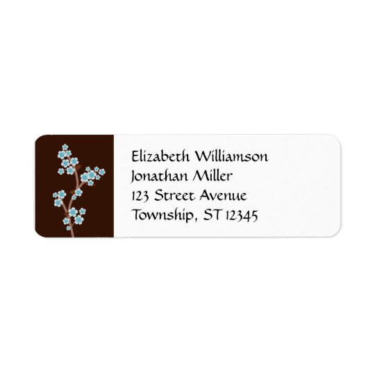 Blue Cherry Blossom Brown Return Address Labels