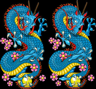 0bf35d52d Blue Cherry Blossom Dragon Tattoo in Black Leggings