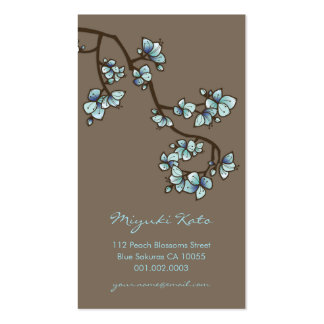 Blue Cherry Blossoms Sakura Spring Flowers Floral Pack Of Standard Business Cards