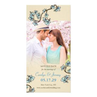 Blue Cherry Blossoms Sakura Wedding Save The Date Custom Photo Card