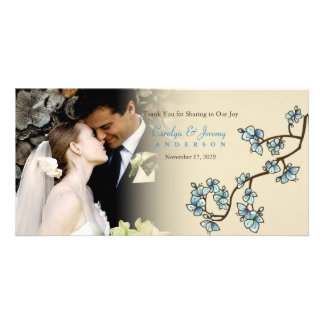 Blue Cherry Blossoms Sakura Wedding Thank You Card Personalized Photo Card