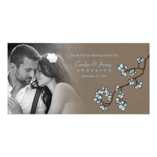 Blue Cherry Blossoms Sakura Wedding Thank You Card Personalized Photo Card