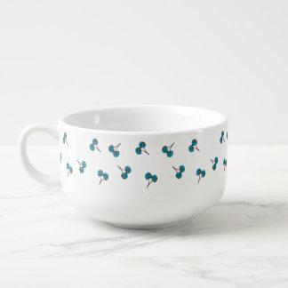 Blue Cherry Pattern Soup Mug
