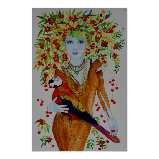 Blue Cherry Tree Woman Poster