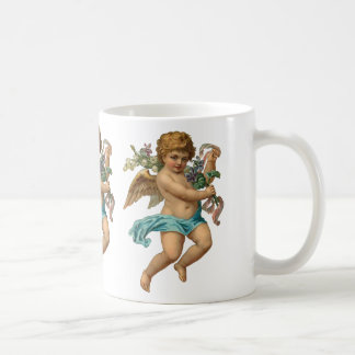 """""""Blue Cherub"""" Vintage Classic White Coffee Mug"""