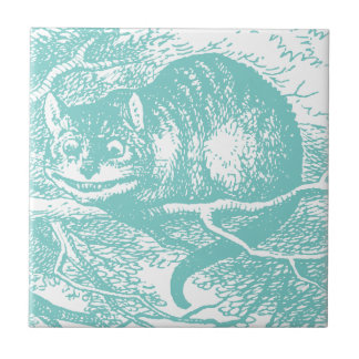 Blue Cheshire Cat Small Square Tile