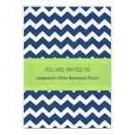 "Blue Chevron 30th Birthday Party Invitations 5"" X 7"" Invitation Card"
