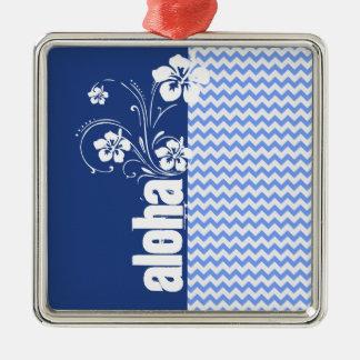 Blue Chevron; Aloha Christmas Ornament