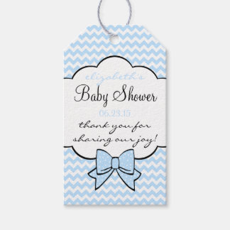 Blue Chevron and Bow Baby Shower Guest Favor Gift Tags
